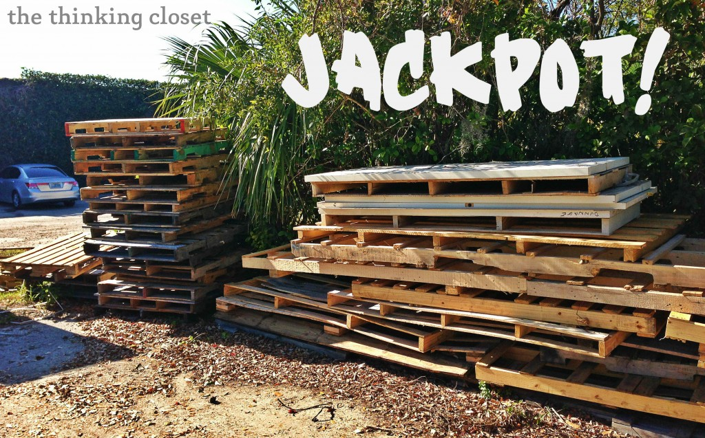 Jackpot! Tips for Working with Pallet Wood & Recommendations on where to find pallet wood. via thinkingcloset.com