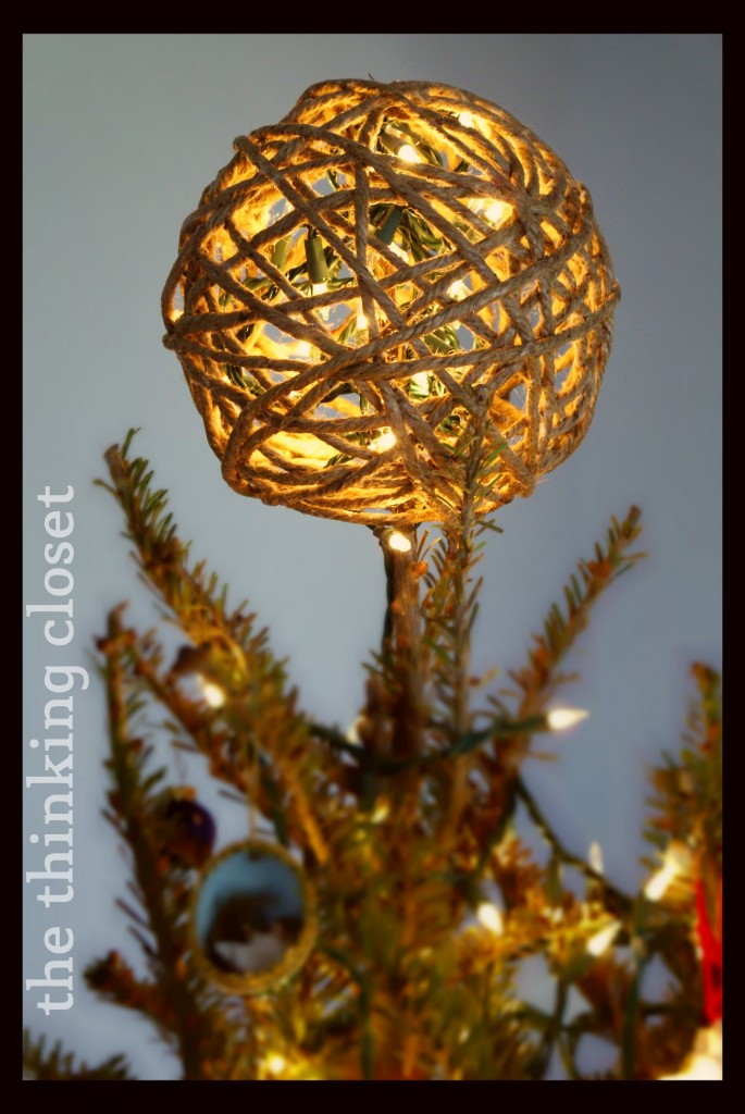 D I Y  Twine Ball Tree Topper by The Thinking Closet. Glitter Twine Ball Ornament Tutorial   the thinking closet