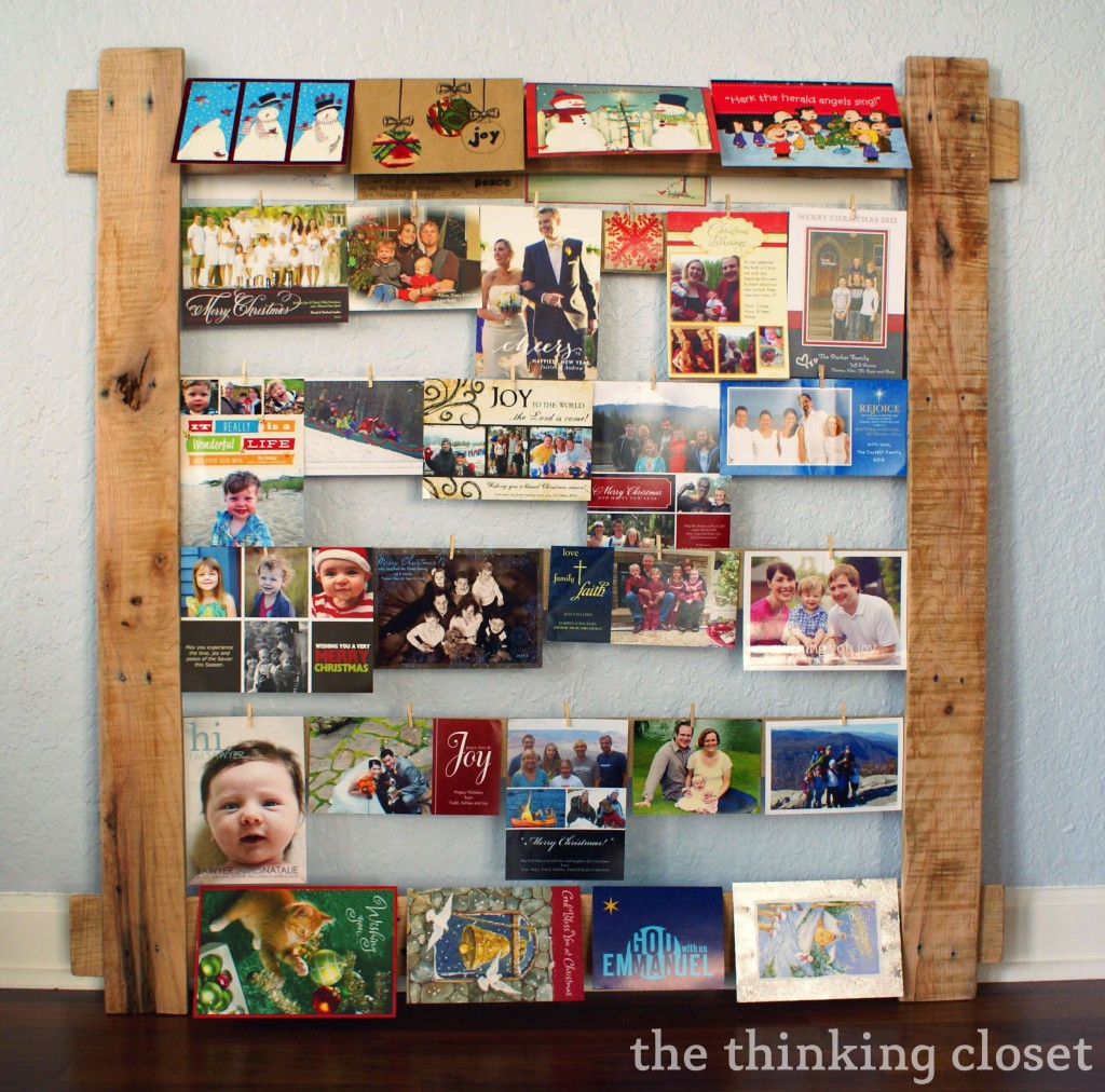 Pallet Christmas Card Display by The Thinking Closet. Glitter Twine Ball Ornament Tutorial   the thinking closet
