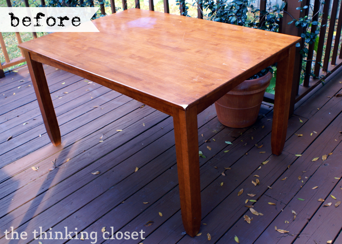 Black Distressed Table Makeover - BEFORE - The Thinking Closet