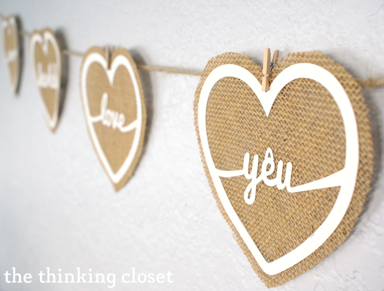 Burlap Love Banner & Free Cut File by The Thinking Closet