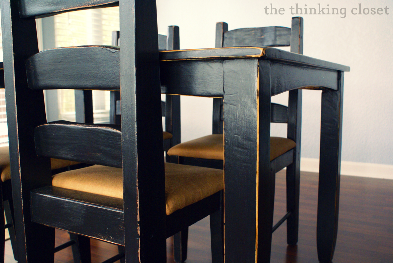 Black distressed table makeover the thinking closet - Painted dining tables distressed ...
