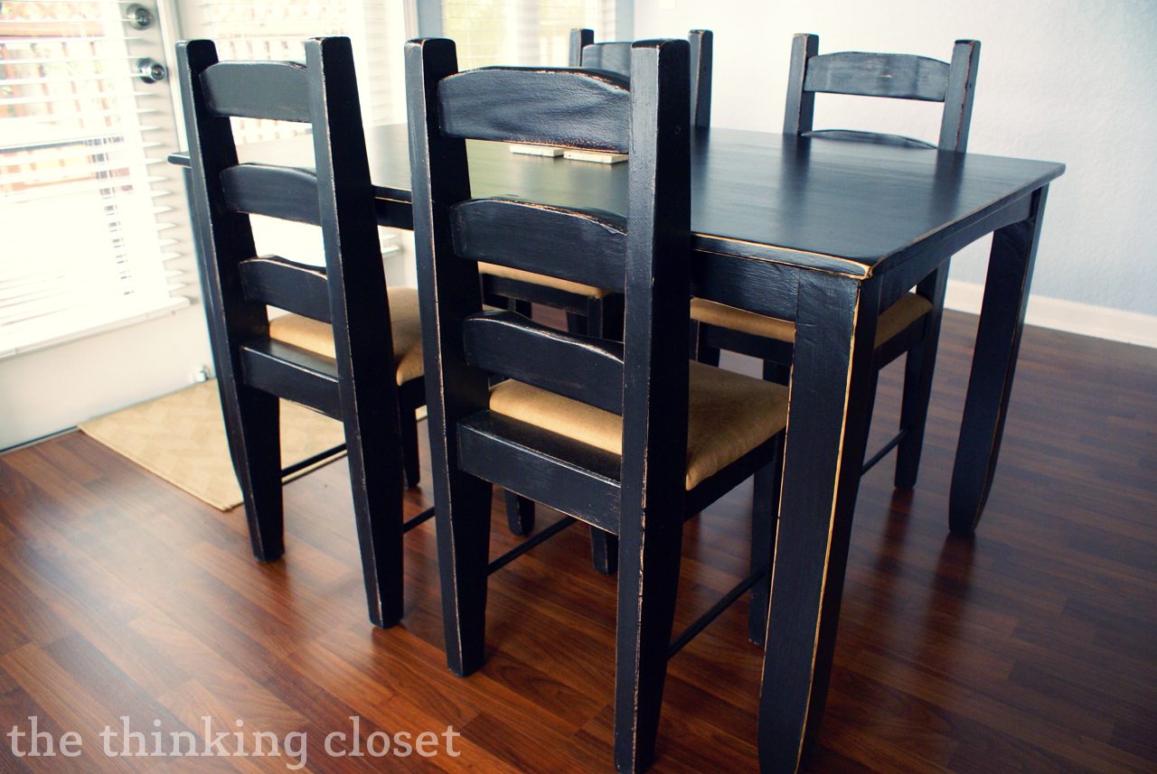Black Distressed Table Makeover The Thinking Closet