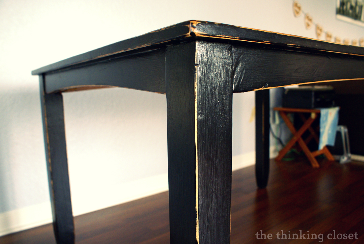 Painting furniture black distressed - Black Distressed Table Makeover The Thinking Closet