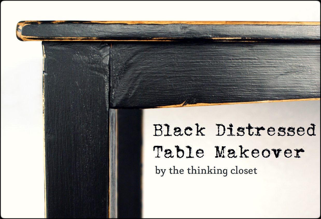 Lovely Black Distressed Table Makeover By The Thinking Closet