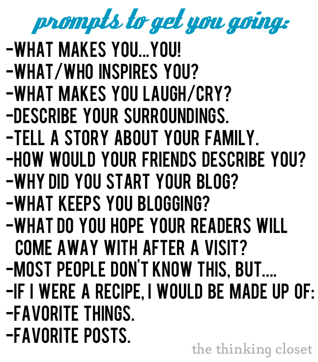 "Prompts To Get You Prompts To Help You Revamp Your Blog's ""About"" Page by The Thinking Closet"