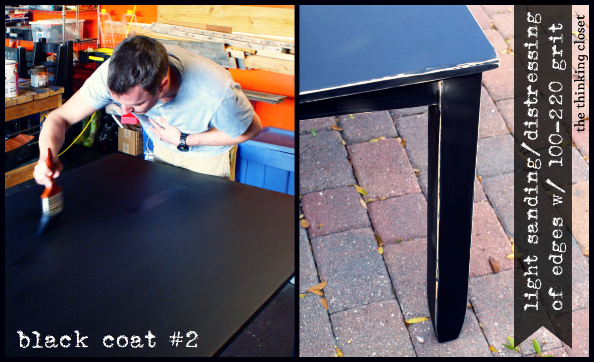 Black Distressed Table Makeover - Second Coat & Distressing - The Thinking Closet