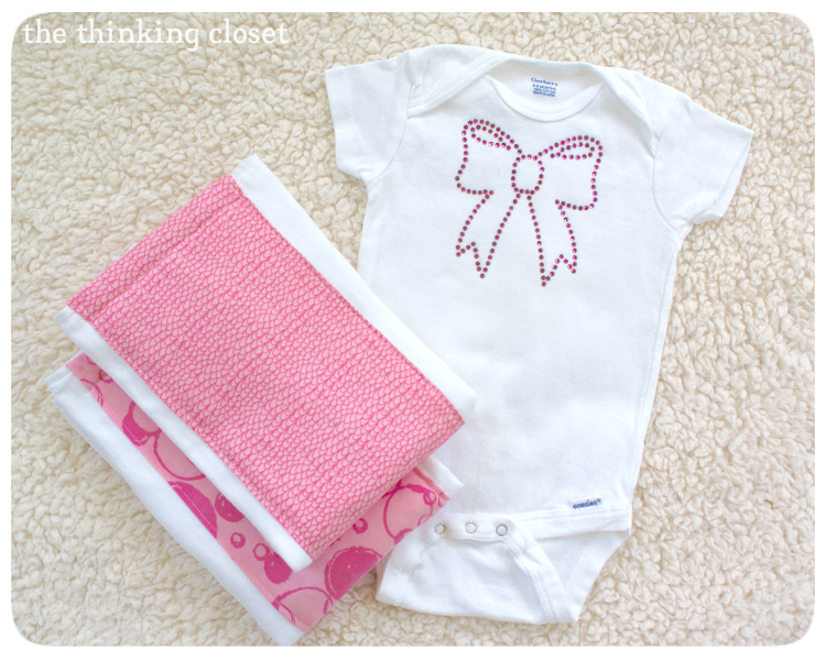 Rhinestone Onesie with Burp Cloths by The Thinking Closet