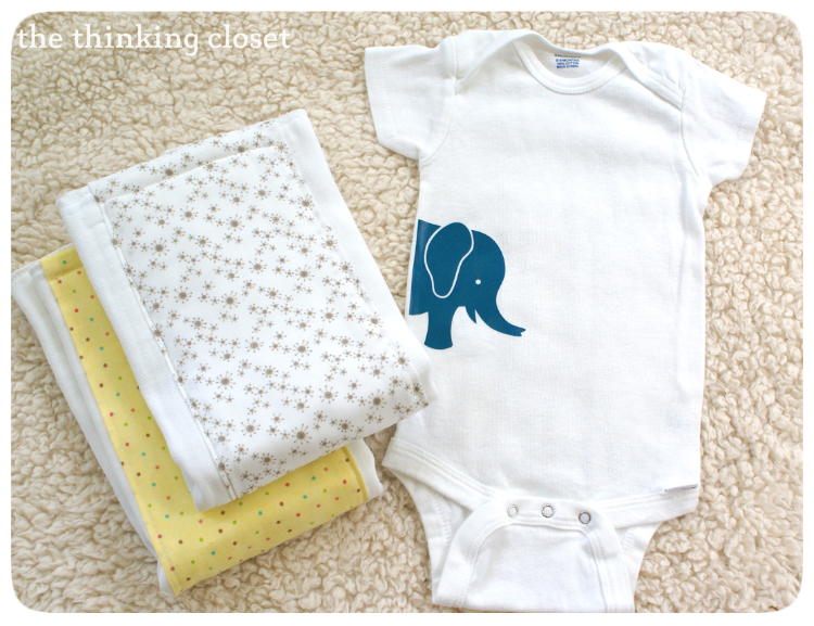 Gender-Neutral Onesie and Burp Cloths by The Thinking Closet