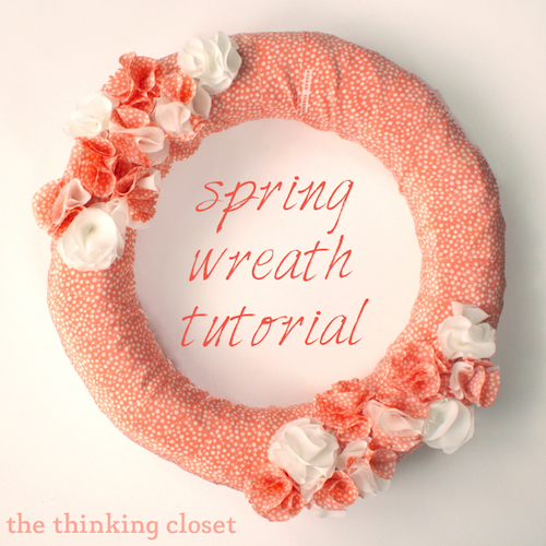 Fabric Spring Wreath Tutorial by The Thinking Closet
