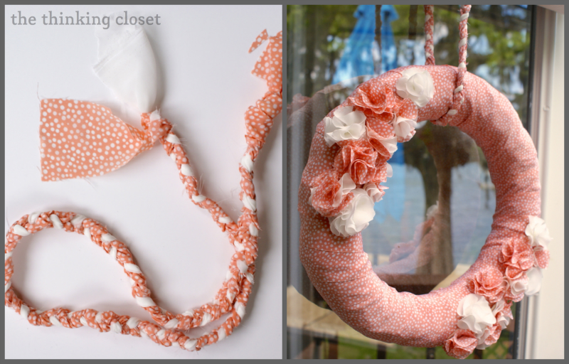 Fabric Spring Wreath Tutorial by The Thinking Closet. Fabric Spring Wreath Tutorial   the thinking closet