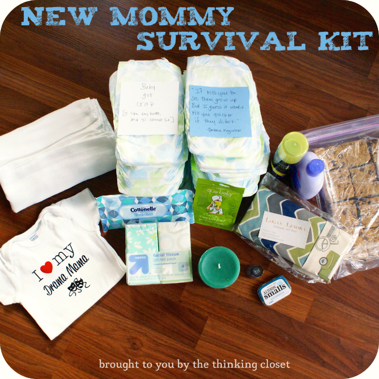 New Mommy Survival Kit!  Great gift idea to go in on as a group!