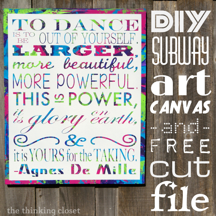 DIY Subway Art Canvas Tutorial Free Cut File