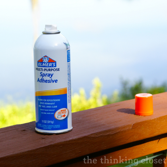 My adhesive of choice: Elmer's Spray Adhesive via thinkingcloset.com