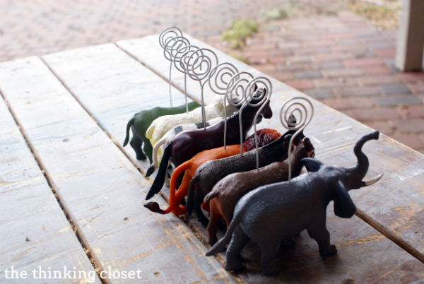Transforming Plastic Toy Animals into Gold Place-Card Holders | The Thinking Closet