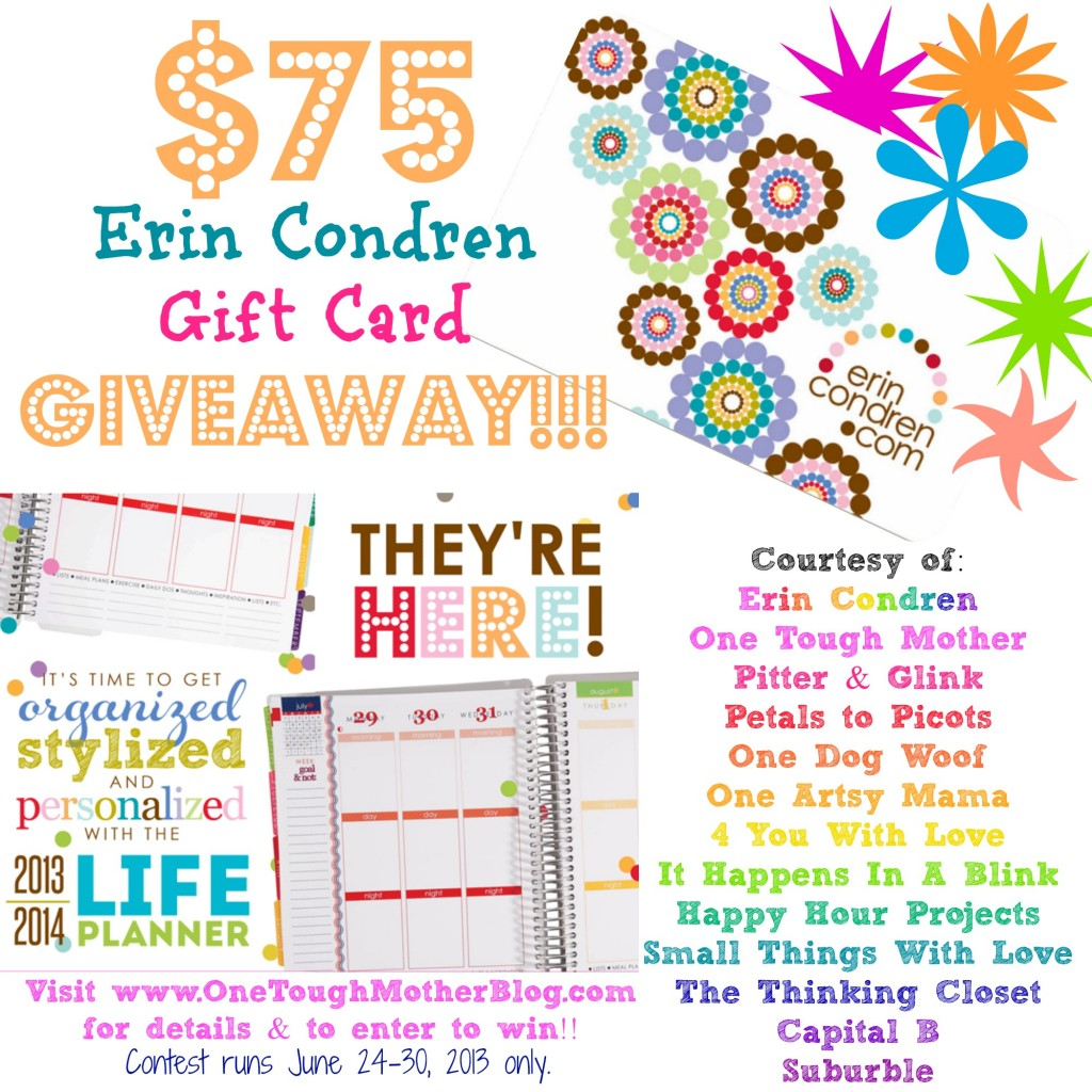 $75 Erin Condren Giveaway: 6/24 - 6/30 | Hosted by One Tough Mother & Friends