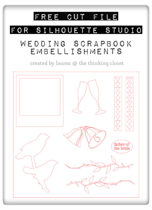 Free Wedding Scrapbook Embellishments for Silhouette Studio | The Thinking Closet