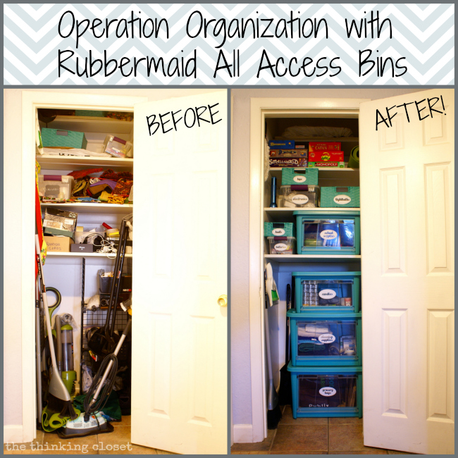 Operation Organization With Rubbermaid All Access Bins | The Thinking Closet