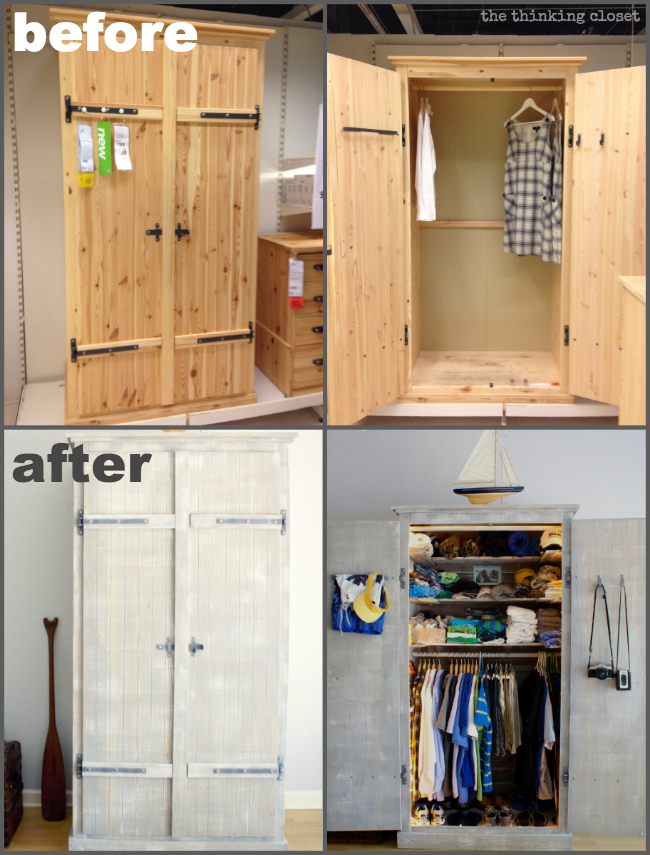 Ikea Hack Whitewashed Fjell Wardrobe With Pallet Shelves The Thinking Closet