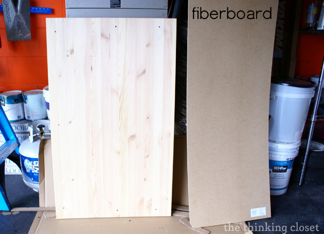 Fiberboard for the IKEA fjell wardrobe via The Thinking Closet
