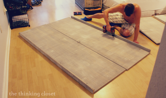 Handyman at work on our IKEA wardrobe hack! | The Thinking Closet