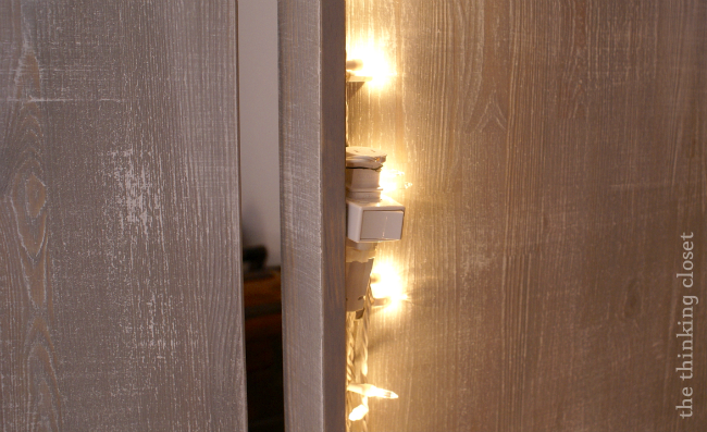 Add Christmas lights inside a wardrobe for indirect lighting...and a night-light!  | The Thinking Closet