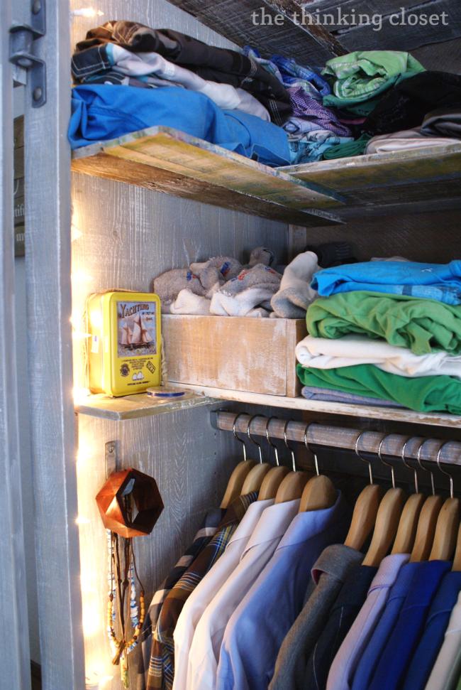 IKEA Hack: Whitewashed Fjell Wardrobe with Pallet Shelves   The Thinking Closet