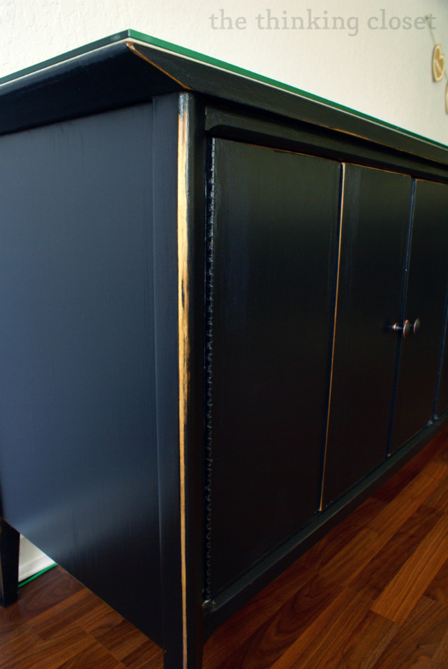 Black Distressed Buffet Makeover | The Thinking Closet