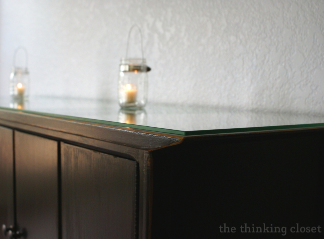 Black Distressed Buffet Makeover by The Thinking Closet
