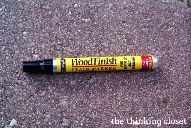 Use a stain pen on the distressed edges of your piece of furniture | The Thinking Closet