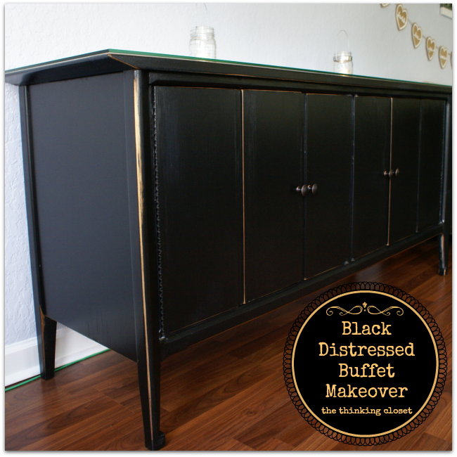 black distressed buffet makeover the thinking closet rh thinkingcloset com  black distressed hutch buffet