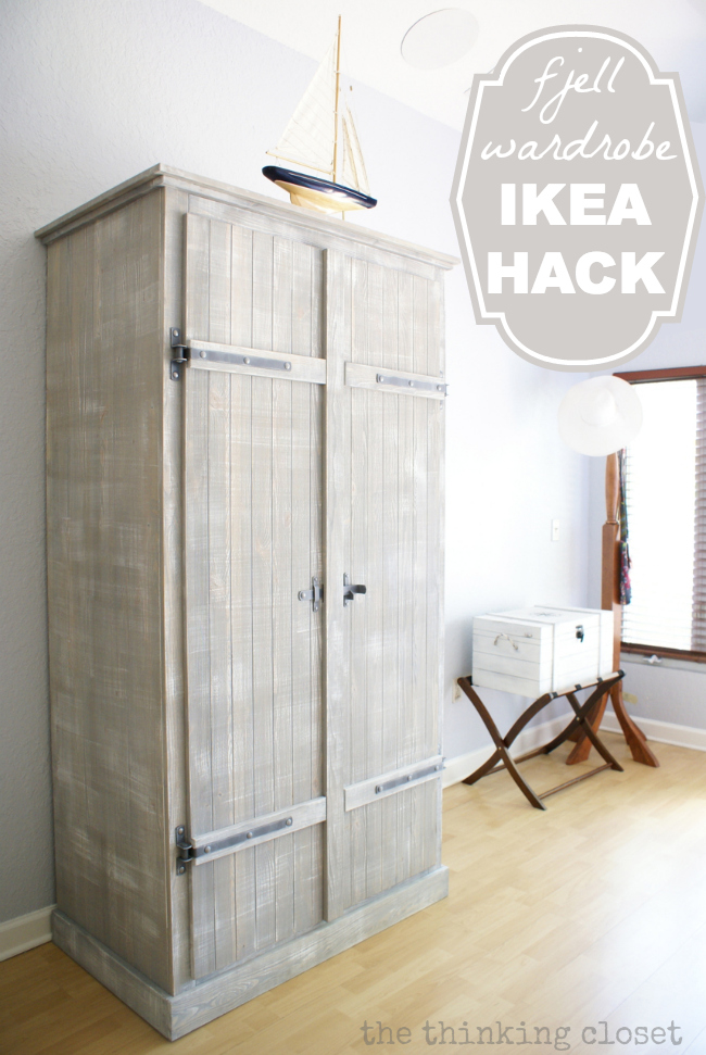 IKEA Hack: Whitewashed Fjell Wardrobe with Pallet Shelves | The Thinking Closet