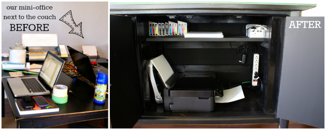 Hide a printer and other office supplies inside a buffet cabinet!