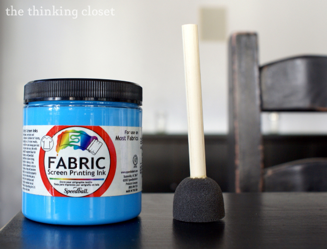 Speedball Fabric Paint and rounded foam brush.