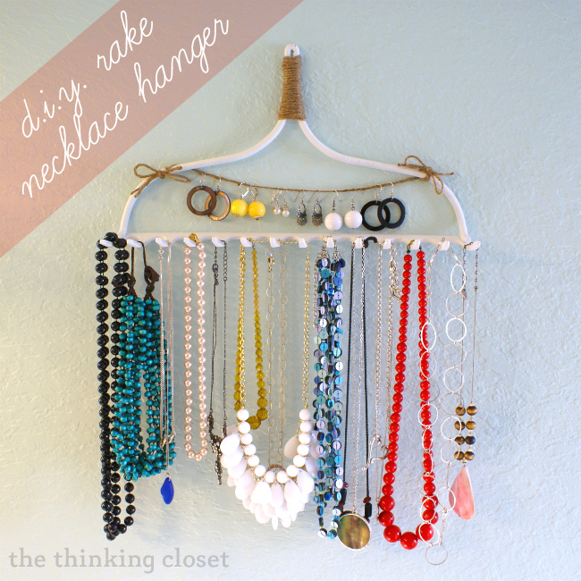 25 creative solutions to necklace organization the thinking closet diy rake necklace hanger by the thinking closet solutioingenieria Image collections
