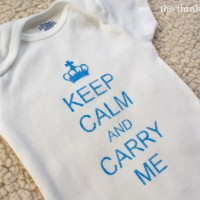 """""""Keep Calm"""" onesie using freezer paper stenciling and fabric paint! Tutorial by The Thinking Closet."""