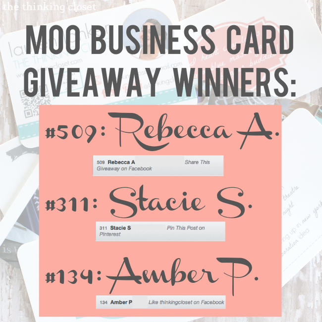 MOO Business Card Giveaway Winners!  Congrats!