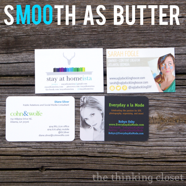 MOO Business cards are known for their high quality cards...they're thicker than other cards and sMOOth as butta'!