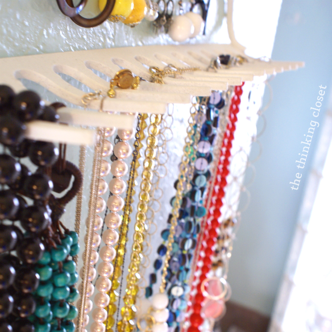 DIY Rake Necklace Hanger the thinking closet