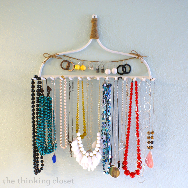 Diy rake necklace hanger the thinking closet diy rake necklace hanger by the thinking closet solutioingenieria Gallery