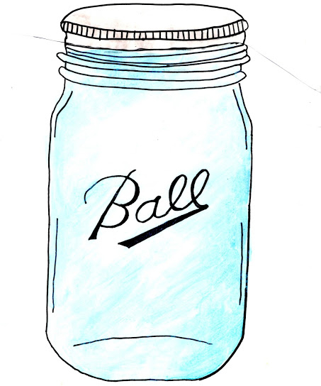 Blue Mason Jar Drawing Free Mason Jar Graphic by