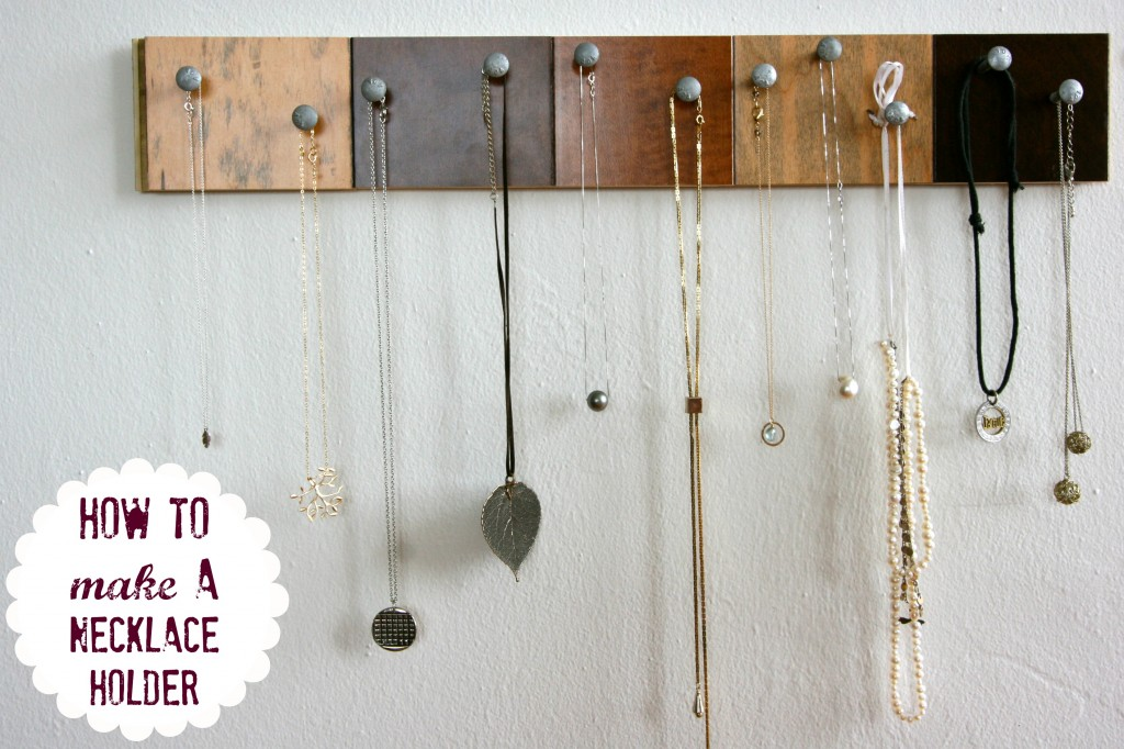 Necklace Holder out of Sample Wood Floor Pieces