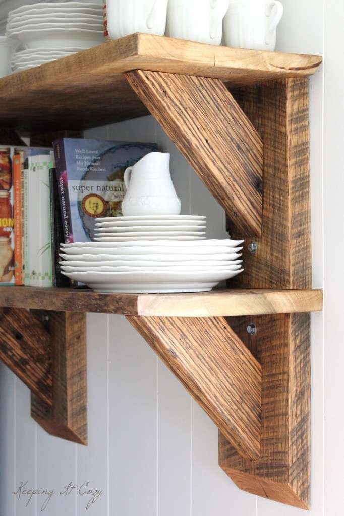 Reclaimed Wood Kitchen Shelves by Keeping It Cozy
