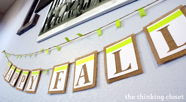 """Happy Fall"" Banner...one stop on the journey of the Choose Your Own Adventure Fall House Tour at thinkingcloset.com"