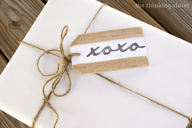 DIY Gift Wrap with Handmade Gift Tags by The Thinking Closet