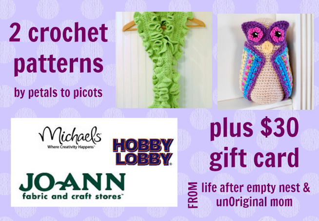 2 crochet patterns & $30 craft store gift card - - 1 of 6 prizes in The Thinking Closet's Blogiversary Giveaway!  9/6 - 9/11