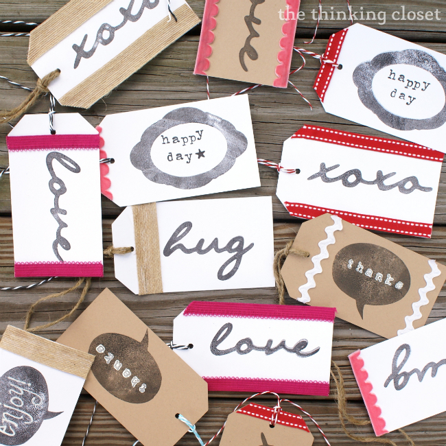 Handmade Gift Tags using Silhouette Stamping Material via The Thinking Closet