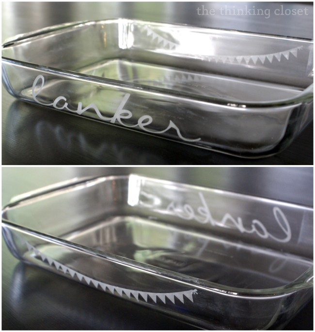 Create classy custom casserole dishes using glass etching cream and stencil vinyl.