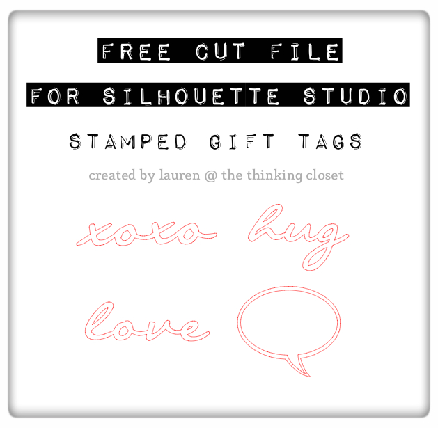 Free Cut File of Stamped Gift Tags for Silhouette Studio - Created by The Thinking Closet