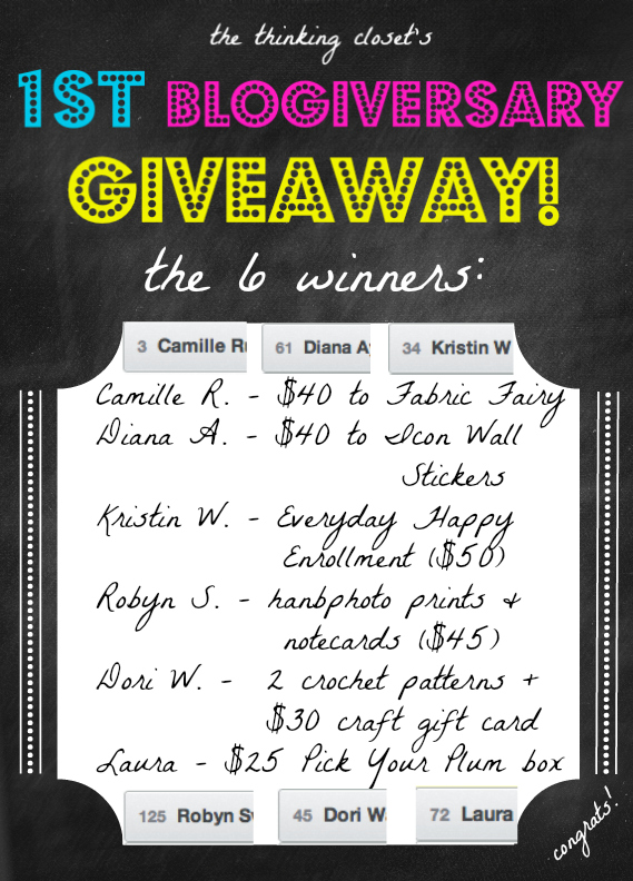 Lauren's First Blogiversary Giveaway Winners!
